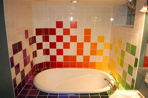 Bathroom Tile Paint Ideas | home interior and exterior design rainbow tiles paint