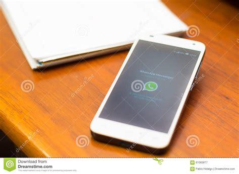 Whatsapp Desk by Quito Ecuador August 3 2015 White Smartphone