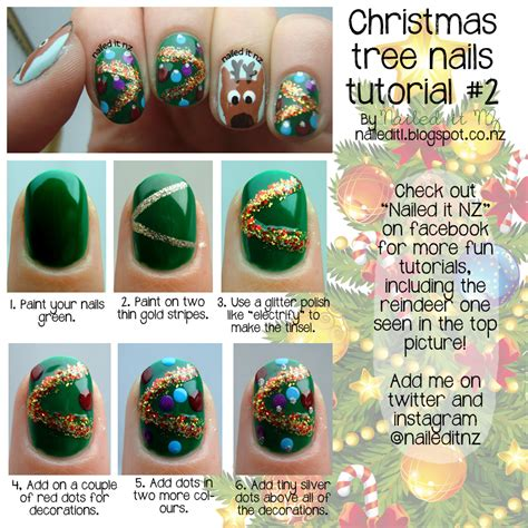 xmas nail art tutorial christmas tree nail art tutorial