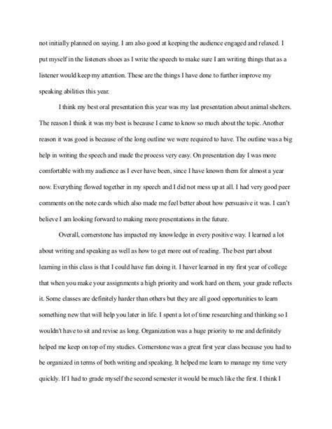 Reflective Speech Essay by Cornerstone Reflection Paper