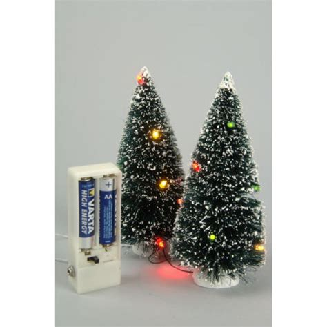lumineo pair of 10 led miniature christmas trees