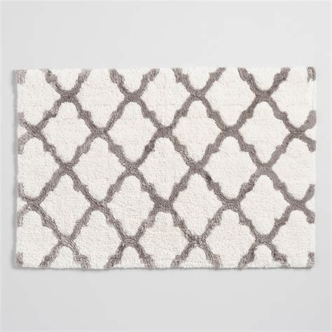gray and white bath rug ivory and taupe lattice bath mat world market