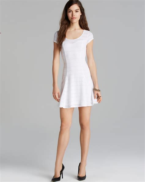 Guess Dress Spandek lyst guess dress open stripe jersey in white