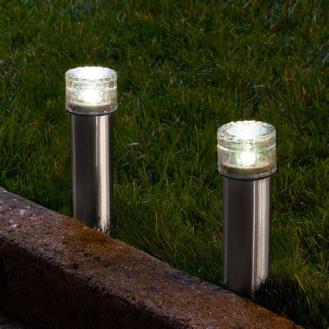 Solar Landscaping Lights Lights Solar Solar Landscape Warm White Stainless Steel Iced Solar Bollard Light