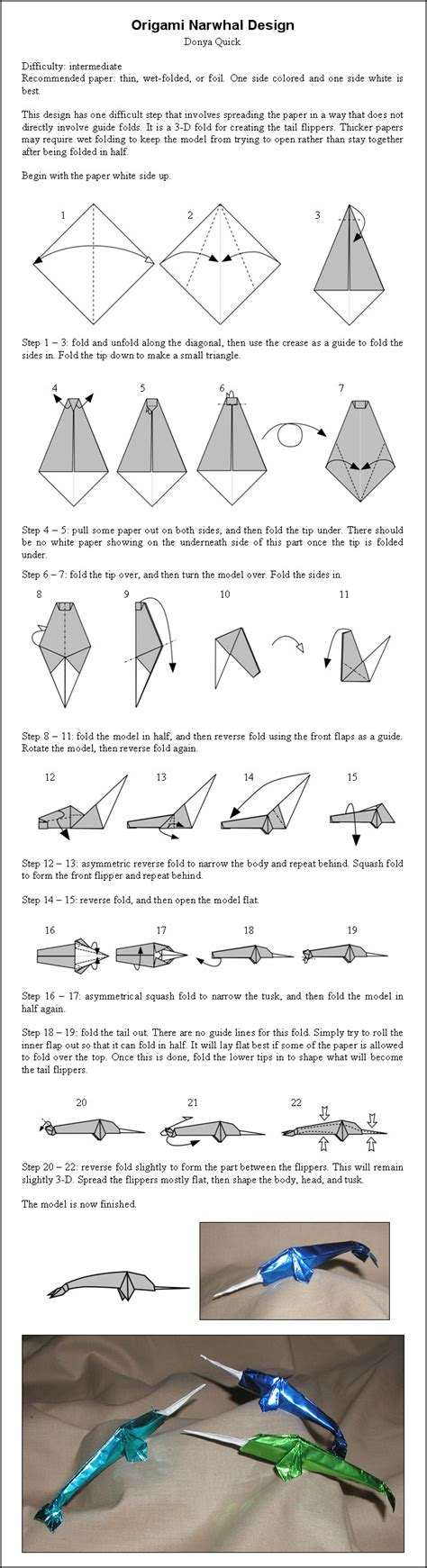 How To Make An Origami Narwhal - origami narwhal by donyaquick on deviantart