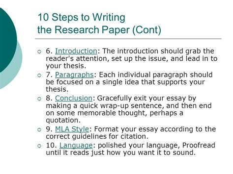 topics to write a 10 page research paper on 10 steps to writing an essay ppt