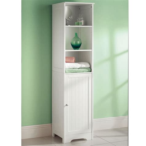 White Wooden Bathroom Cabinet Shelf Cupboard Bedroom White Freestanding Bathroom Cabinet