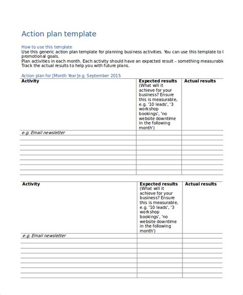 nice action plan template word exle with activity and