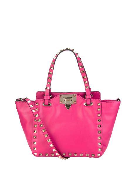 valentino rockstud rectangular shoulder bag in pink lyst