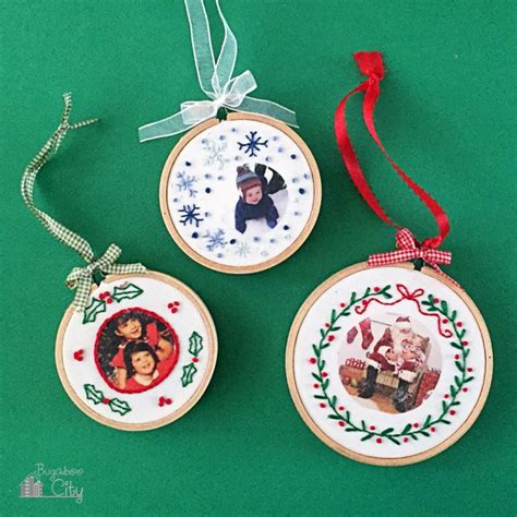diy embroidered photo ornaments for christmas shelterness