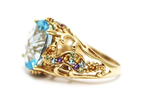 Change Topaz 1204 Ct 24 ct blue topaz and gemstones seahorse ring in 14kt gold from cham nyc on ruby