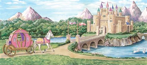 Princess Castle Wall Mural mural shown in room setting view of entire pattern 169 dlm studio