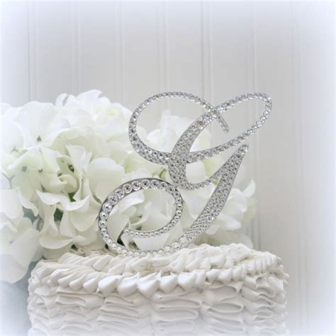 "5"" Wedding Cake Topper Monogram Initial Cake Toppers Bling ... M Monogram Wedding Cake Toppers"