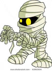 clip art image a cartoon mummy with glowing eyes