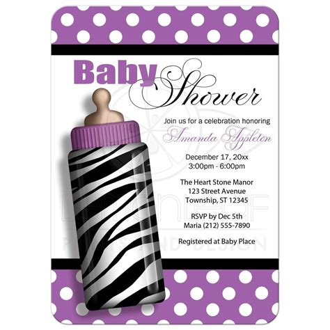 Baby Shower Invitations Zebra Print baby shower invitations zebra print baby bottle purple