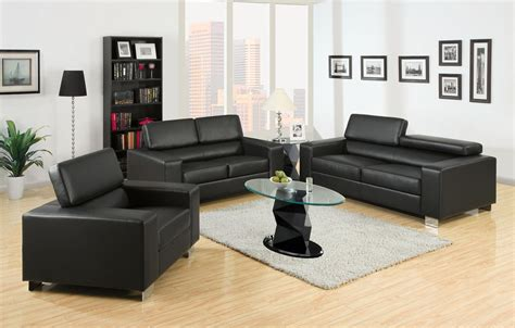 Black Leather Living Room Set Felix Black Bonded Leather Living Room Set Sofas Seat Chair
