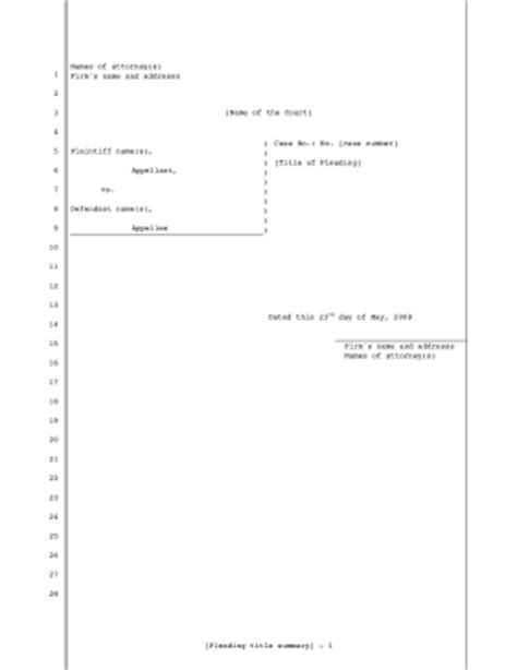 printable legal pleading template for appeals 28 lines