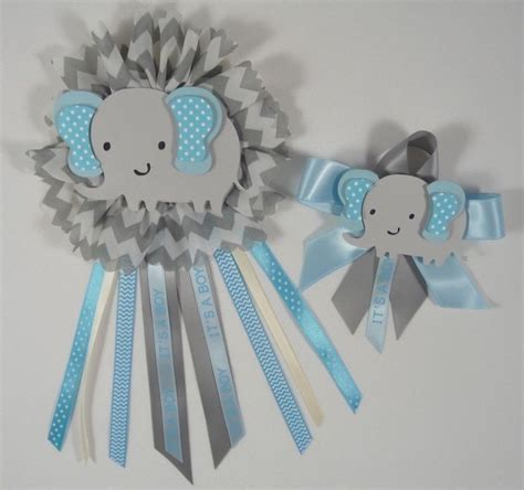 Corsage Para Baby Shower by Baby Shower Corsage Elephant Theme Blue And Gray
