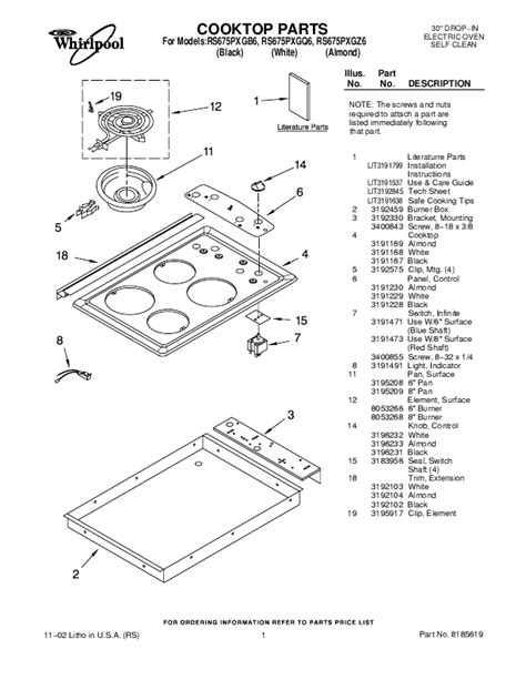 whirlpool cooktop parts whirlpool range rs675pxg user s guide manualsonline