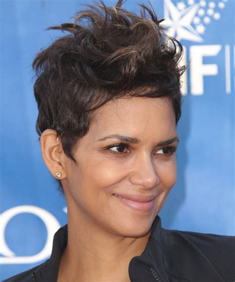 back view of halle berry hair halle berry short straight casual hairstyle mocha
