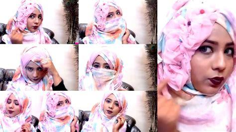 hijab with niqab tutorial youtube easy flowral floral flower hijab niqab tutorial for party