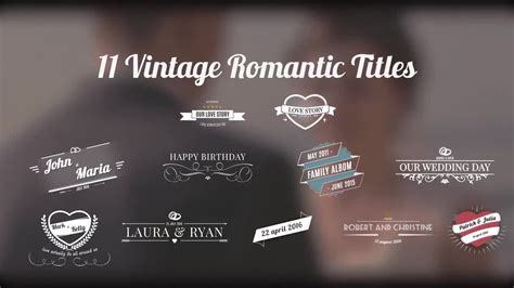 After Effects Free Templates Romantic | vintage romantic titles after effects templates motion
