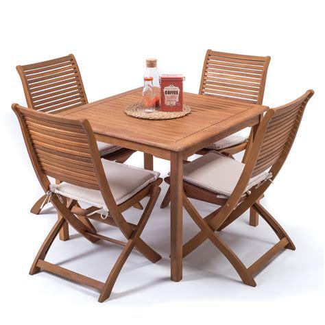 tavoli x esterno set giardino legno 90x90 cm con tavolo quadrato 4 sedie