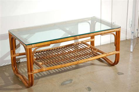 Rattan And Glass Coffee Table Vintage Rattan Bamboo Glass Topped Coffee Table At 1stdibs