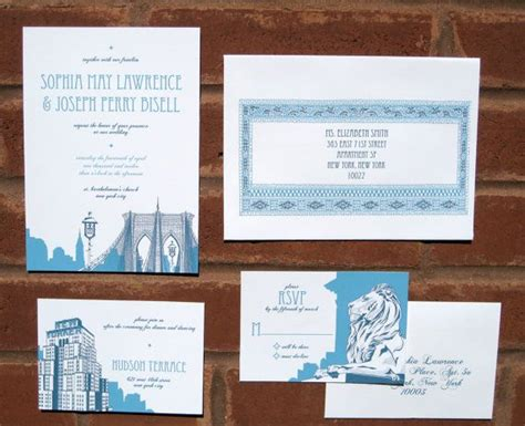 nyc themed wedding invitations cityscape