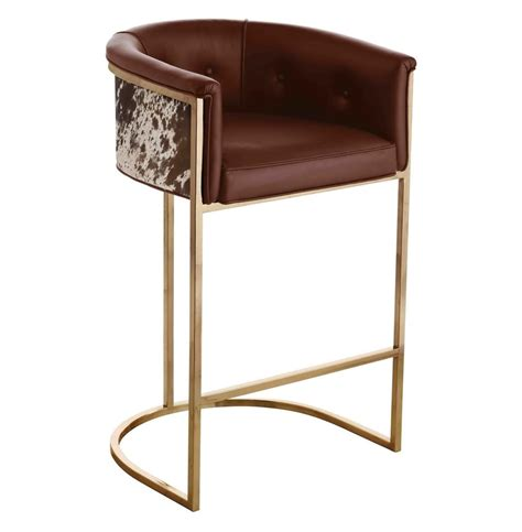 modern deco bar stool calvin top grain brown hide leather deco barstool