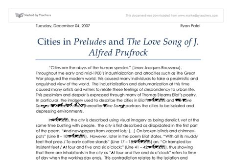 The Lovesong Of J Alfred Prufrock Essay by Cities In Preludes And The Song Of J Alfred Prufrock Gcse Marked By Teachers