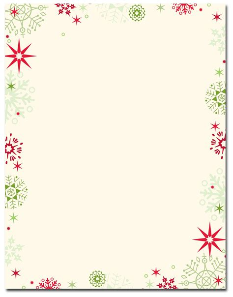 red green flakes letterhead christmas stationery