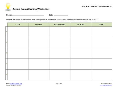 brainstorming worksheet coaching tools from the