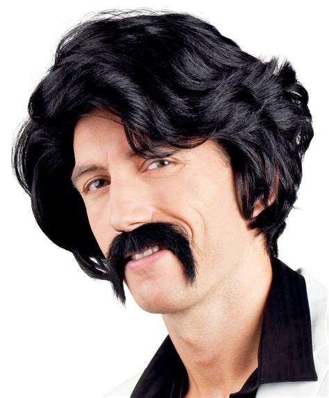 80s Accessories Black by 80s Black Wig Moustache Mens Fancy Dress 1980s