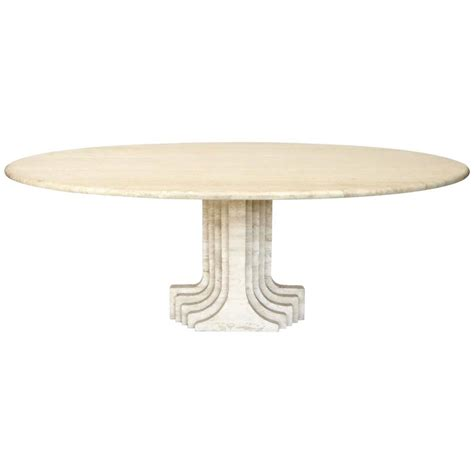 Italian Travertine Oval Top Quot Samo Quot Fluted Carved Base Travertine Top Dining Table