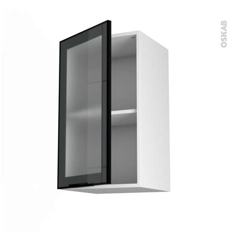 Supérieur Fixation Meuble Bas Cuisine #6: Noirsatine-vitre-stilo-meuble-haut-ouvrant-h70-1-porte-l40xh70xp37-face-oskab.jpg