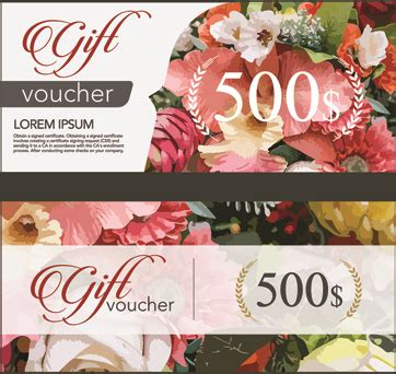 flower design voucher code flower gift voucher vintage template vector free vector in
