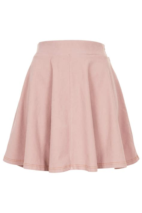 pink denim look skater skirt skirts from topshop