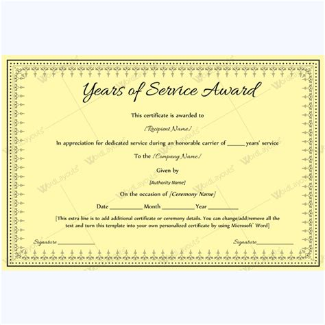 89 Elegant Award Certificates For Business And School Events Years Of Service Certificate Template
