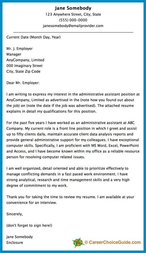 elegant good cover letter for administrative assistant job