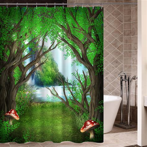 nature curtains great waterfall shower curtain contemporary bathtub for