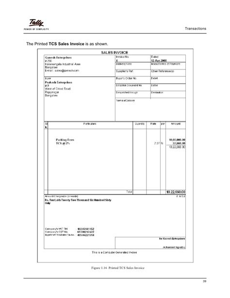 Format Of Credit Note India Tcs In Tally Erp 9