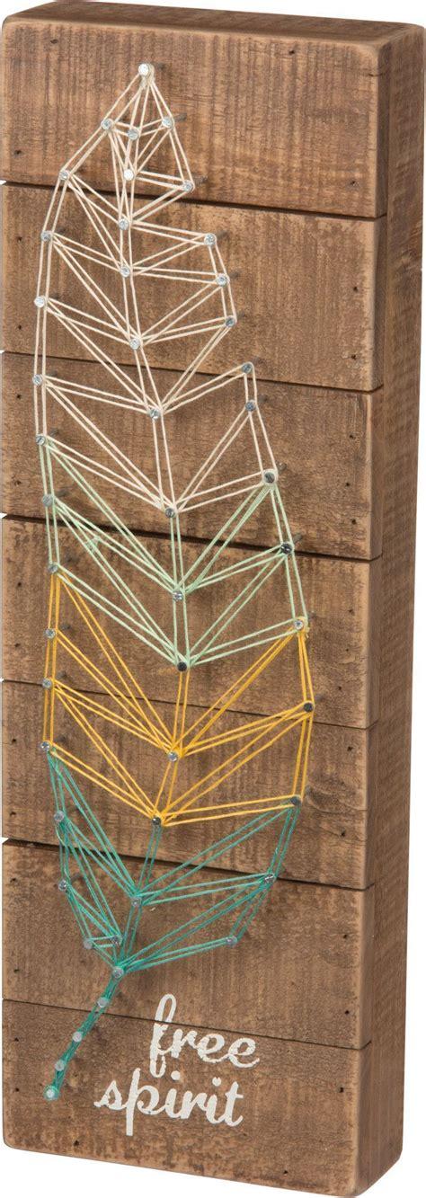 Modern String - free spirit feather string plank board box sign 15