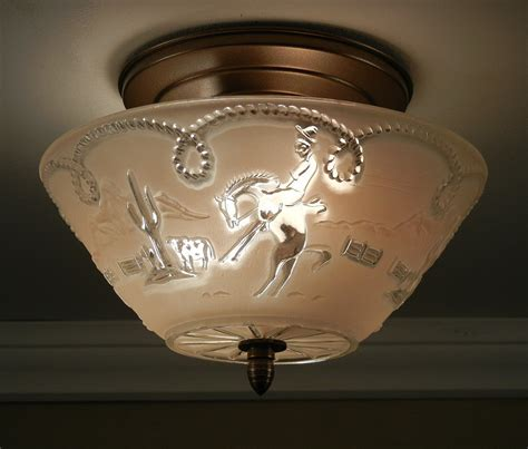 Western Ceiling Light Vintage 1940 S West Theme Western Cowboy Pressed Glass