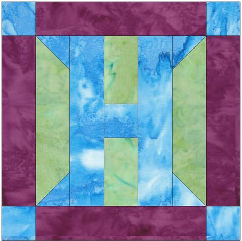 H Quilt Pattern by Foundation Pieced Letter H Paper Quilting Block