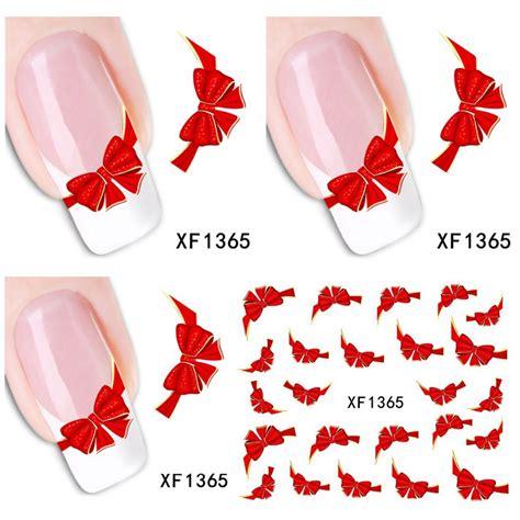 Water Decal Nail Sticker Stiker Kuku Nail 1365 1 aheet xf1365 watermark water transfer design bowknot tip nail sticker nails decal