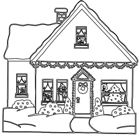 Decorated House Coloring Pages | christmas house decoration coloring page christmas eve