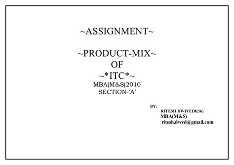 Itc Mba by Itc Product Mix