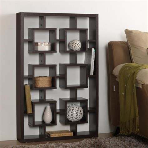 Modern Brown Wooden Display Shelf Baxton Studio Eyer 6 Shelf Modern Display Shelf In