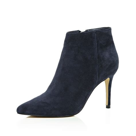 womens navy blue boots river island navy suede pointed ankle boots in blue lyst